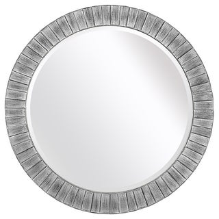 Lyone 34-inch Round Powdered Silver Mirror with Bevel