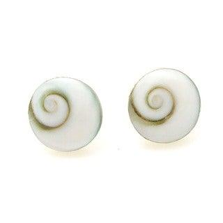 Round 10mm Swirl Shiva Shell Silver Post Earrings (Thailand)