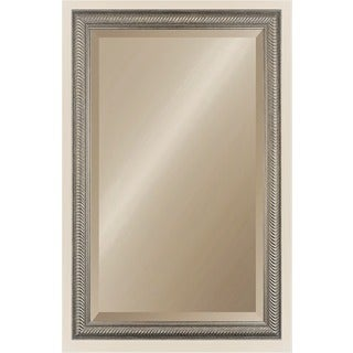 Wave Collection 26-Inch x 41-Inch Etched Silver 2.5-Inch Framed Wall Mirror
