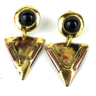 Handcrafted Onyx Triangle Brass Earrings (South Africa)