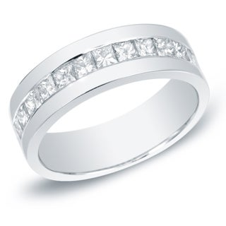 Auriya 14k Gold Men's 1 1/2ct TDW Princess Cut Diamond Band (H-I, SI1-SI2)