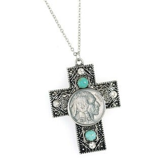 American Coin Treasures Buffalo Nickel Turquoise and Crystal Cross Necklace