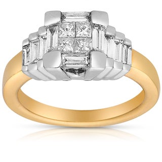 Eloquence 14k Two-tone Gold 1ct TDW Princess-cut Diamond Ring (G-H, I2-I3)