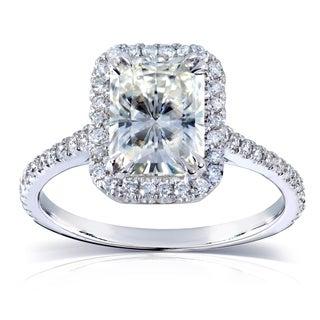 Annello 14k White Gold Radiant-cut Moissanite and 1/4ct TDW Diamond Engagement Ring (G-H, I1-I2)