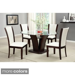 Furniture of America Gale 5-piece Two-tone Glass and Cherrywood Dining Set