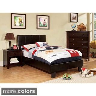 Furniture of America Kutty Modern Twin Size Padded Leatherette Platform Bed