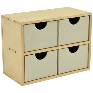 """Beyond The Page MDF 4 Square Drawers-8.5""""X6.25""""X4.25"""" (215x160x110mm)"""
