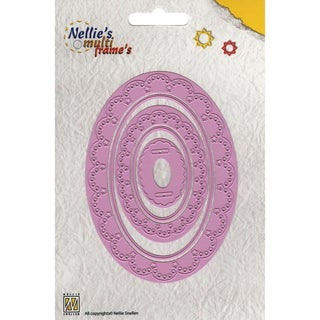 Nellie's Choice Multi Frame Dies-Decorative Oval, 5/Pkg
