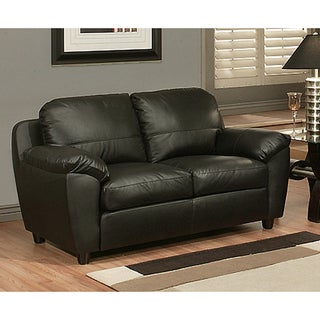 Abbyson Living Sedona Top Grain Black Leather Loveseat