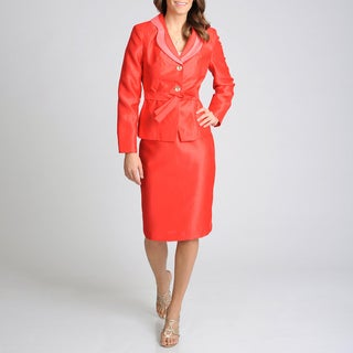 Signature by Larry Levine Women's Fire Red 2-button Skirt Suit