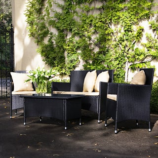 angelo:HOME Napa Estate Summer Espresso Black Wicker Indoor/ Outdoor 4-piece Set