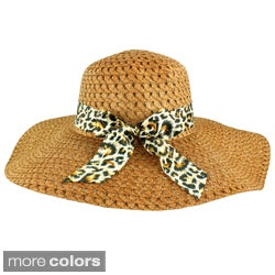 Faddism Women's Animal Print Bow Straw Hat