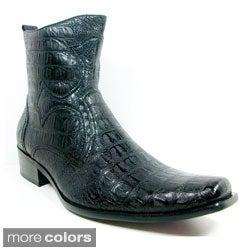 Ferro Aldo Men's Crocodile Textured Cowboy Boots