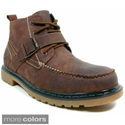Polar Fox Men's Leatherette Lace and Strap Ankle Boots