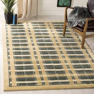 Martha Stewart Colorweave Plaid Cornucopia Gold Wool/ Viscose Rug (2'6 x 4'3)