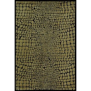 Martha Stewart Amazonia Crocodile/ Green Silk Blend Rug (8'6 x 11'6)