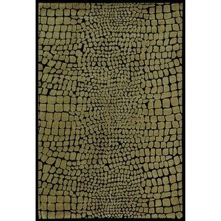 Martha Stewart Amazonia Crocodile/ Biege Silk Blend Rug (8'6 x 11'6)