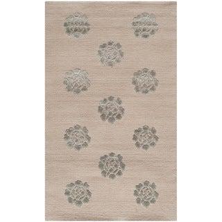 Martha Stewart Medallions Zinc Silk/ Wool Rug (2'6 x 4'3)