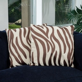 Christopher Knight Home 18-inch Tan Zebra Pillows (Set of 2)