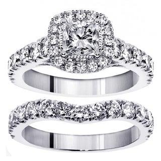 14k/18k White Gold or Platinum 3ct TDW Princess Diamond Bridal Ring Set (F-G, SI1-SI2)