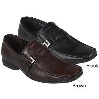 Boston Traveler Men's Square-Toe Slip-On Faux-Leather Loafers