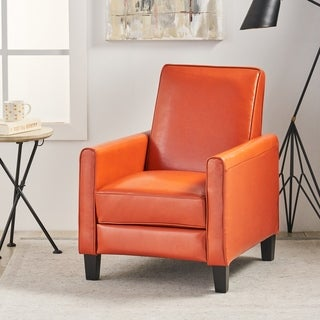 Christopher Knight Home Darvis Orange Leather Recliner Club Chair