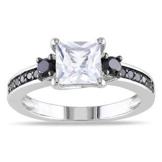 Miadora Silver Created White Sapphire and 1/3ct TDW Black Diamond Ring