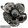 Silvertone or Black-plated Faux Pearl and Crystal Flower Brooch