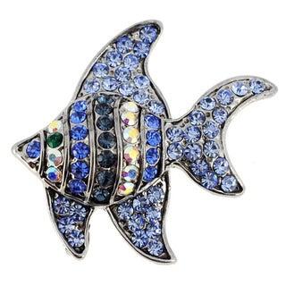 Sapphire Blue Angel Fish Crystal Pin Aquatic Pin Brooch