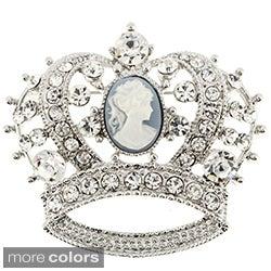 Crystal Cameo Crown Pin Brooch