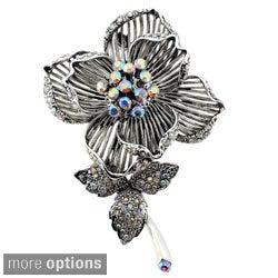 Silvertone or Goldtone Crystal Flower Brooch