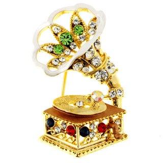 Gramophone Crystal Pin Brooch