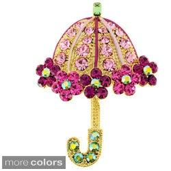 Black or Goldtone Crystal Lady Umbrella Brooch