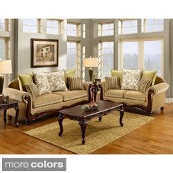 Furniture of America Senous 2-piece Caramel Espresso Sofa Set