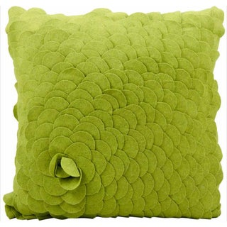 Mina Victory Felt Rose Green 20 x 20-inch Decorative Pillow by Nourison