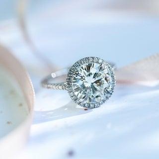 Annello 14k Gold Round-cut Moissanite and 1/4 ct TDW Diamond Engagement Ring (G-H, I1-I2)