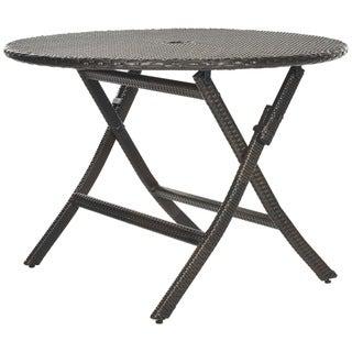 Safavieh Outdoor Living Brown PE Wicker Round Folding Table