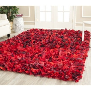 Safavieh Hand-woven Chic Red Shag Rug (5' x 8')