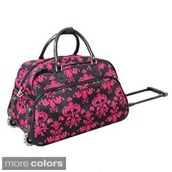World Traveler Designer Prints Fleur-De-Lis 21-inch Carry-on Rolling Upright Duffel Bag