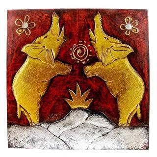 "Handmade Elephant Pair Wall Art (12"" x 12"")"