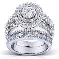 Annello 14k Gold 2 4/5ct TDW Diamond Halo Cluster Bridal Ring Set (H-I, I1-I2)
