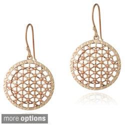 Mondevio Sterling Silver Round Lattice Dangle Earrings