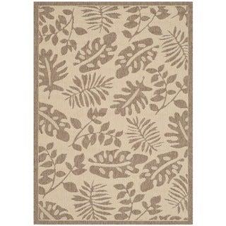Martha Stewart Paradise Cream/ Brown Indoor/ Outdoor Rug (6'7 x 9'6)