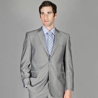 Grey Sharkskin 2-button Wool and Silk Blend Suit