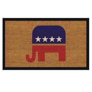 Republican Elephant Natural Coir/ Vinyl Doormat (1'5 x 2'5)