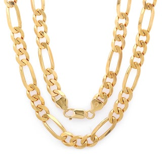 Sterling Essentials 14k Gold over Silver 7.5mm Figaro Necklace (22-30 inches)