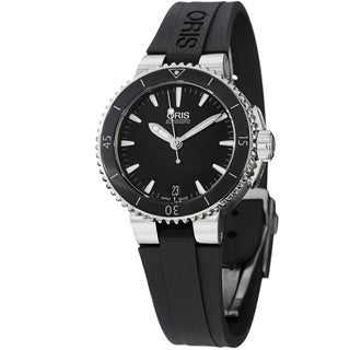 Oris Women's 'Divers' Black Dial Black Rubber Strap Automatic Watch