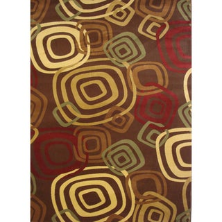Test Pattern Brown Area Rug (6'6 x 9'5)
