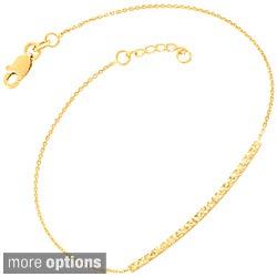 Fremada 14k Gold Diamond-cut Sideways Bar Adjustable Bracelet