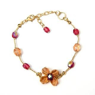 Handmade Glass Flower Beaded Bracelet (India)